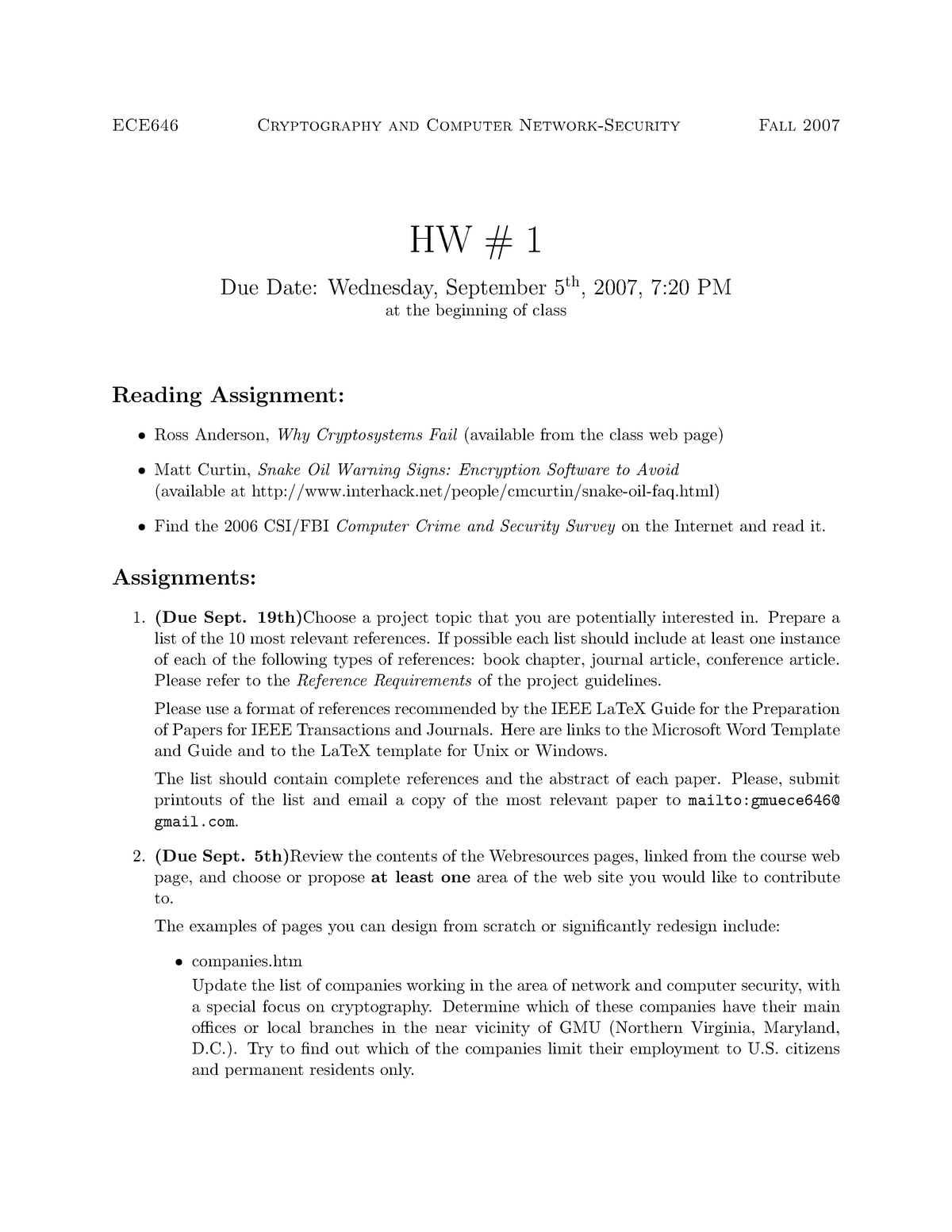 Seminar assignments - Homework 1 -cryptography and computer