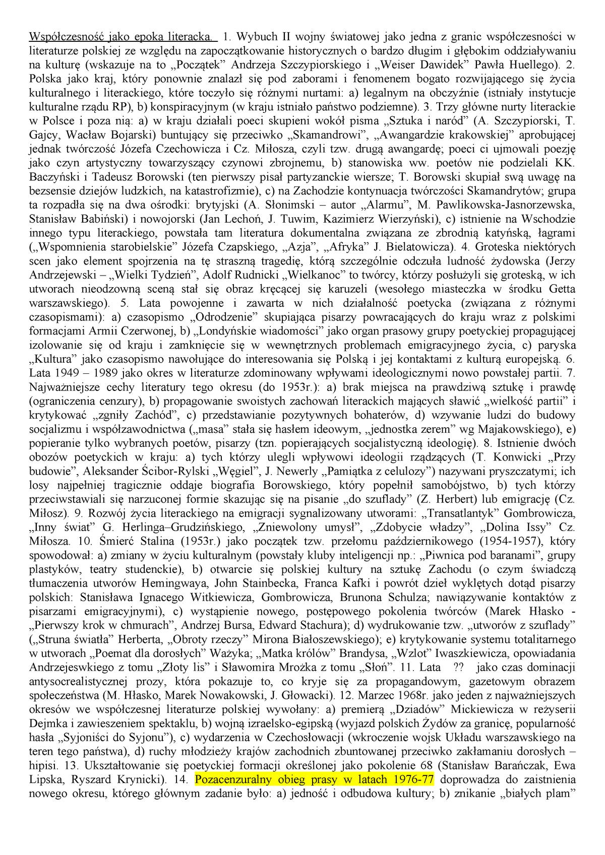 Historia Literatury Współczesnej Uw Filologia Polska Studocu
