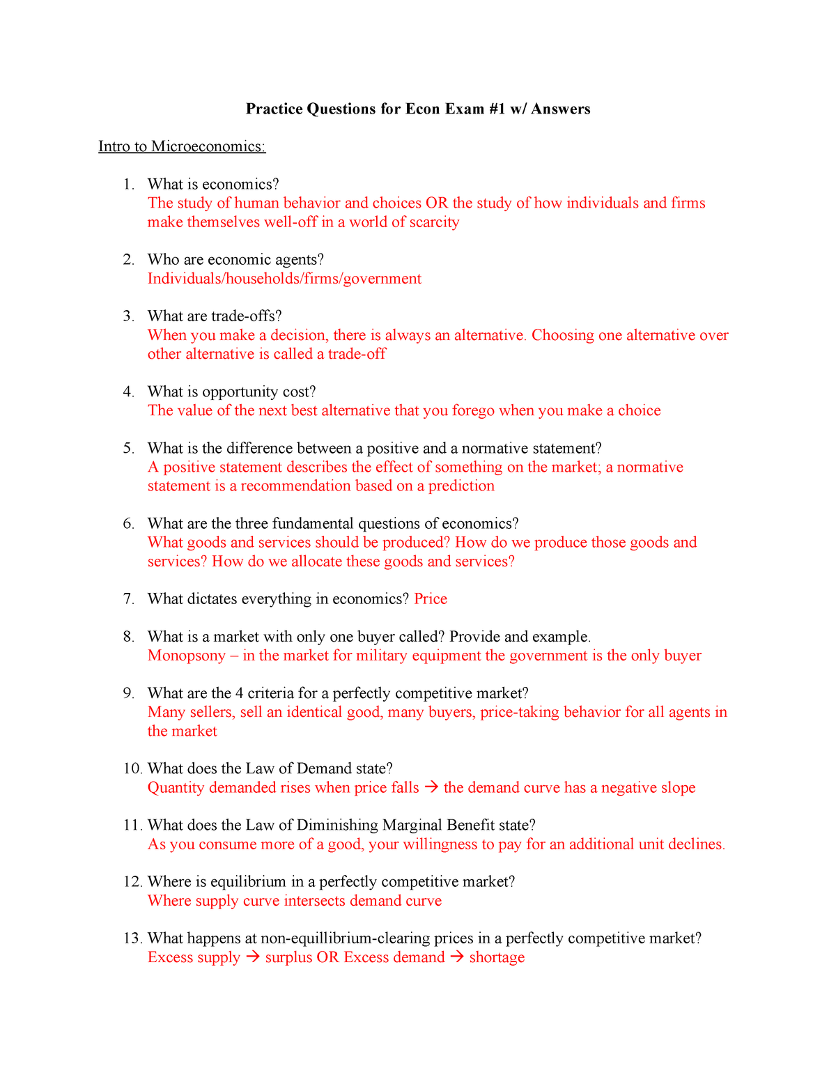 Practice Questions for Econ Exam #1 - Introduction To Microeconomics