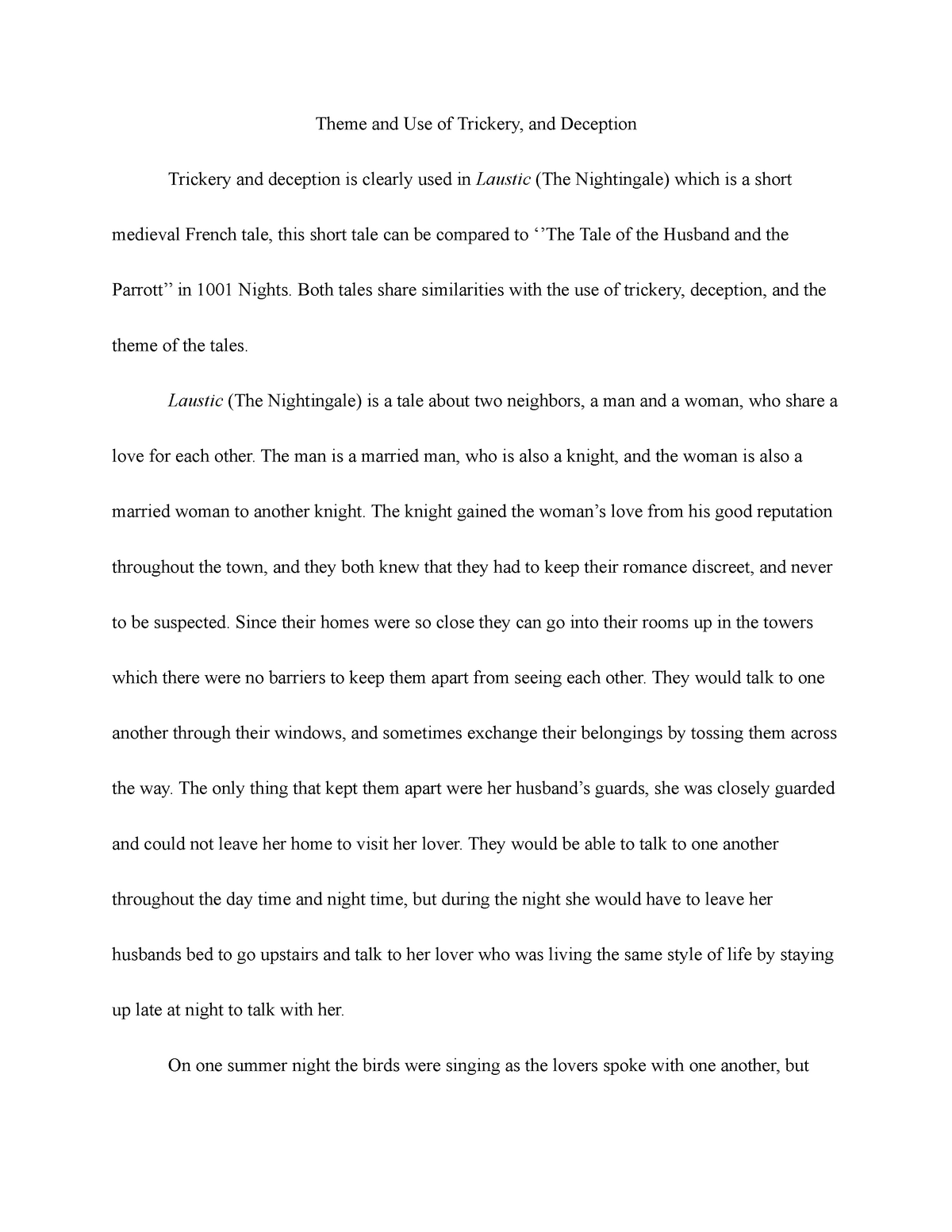 Laustic (The Nightingale) - WRIT 106: College Writing II