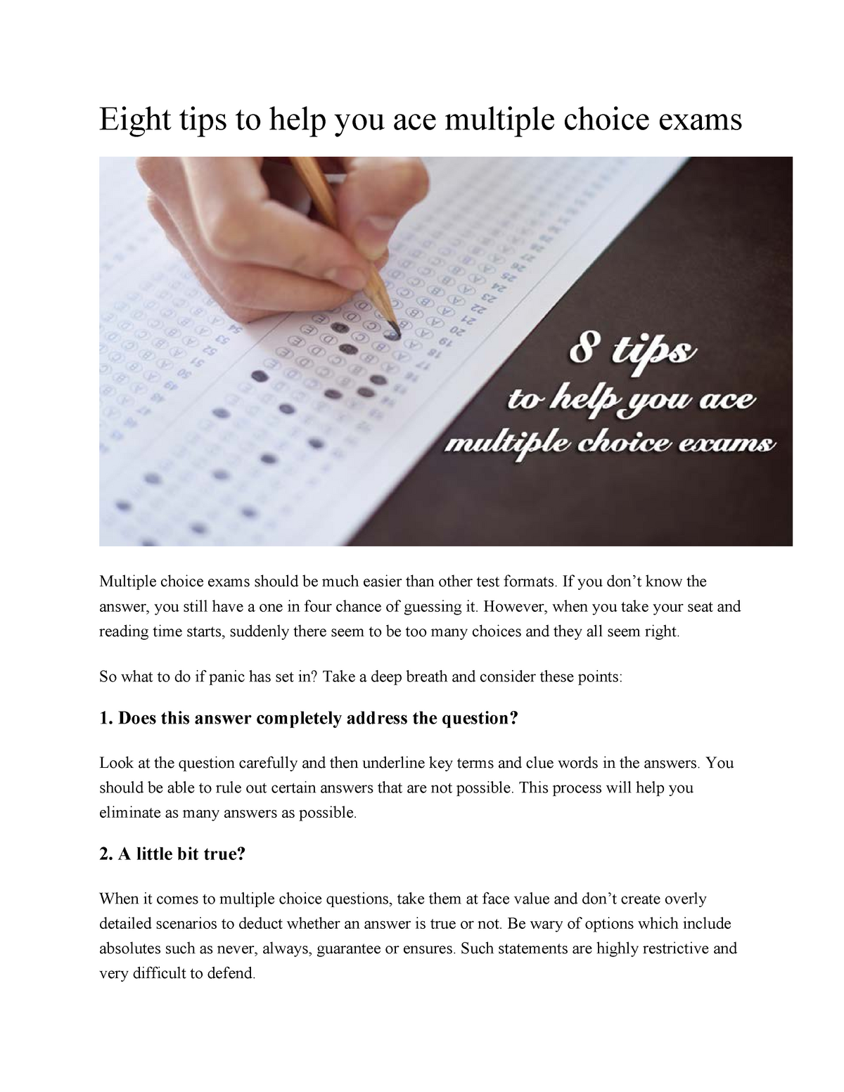 Eight tips to help you ace multiple choice exams