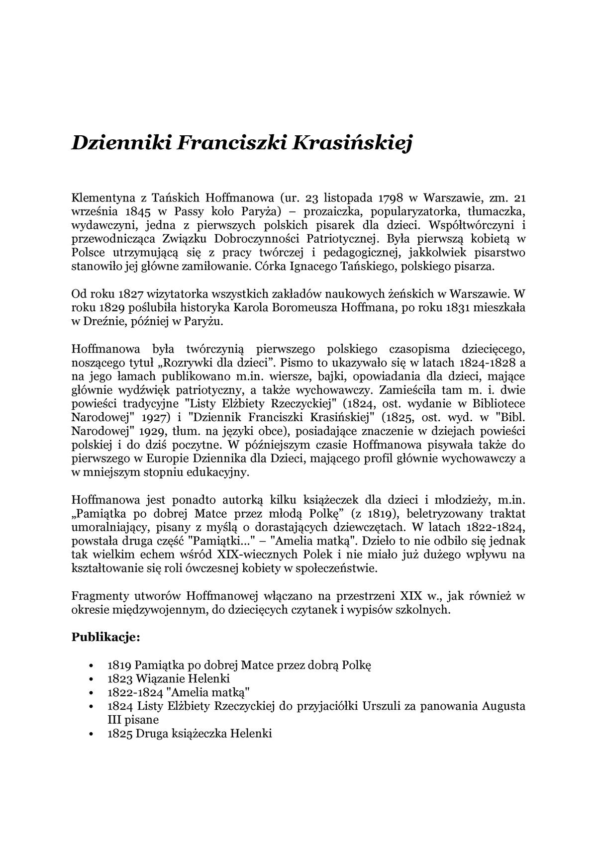Klementyna Z Tańskich Hoffmanowa Filologia Polska