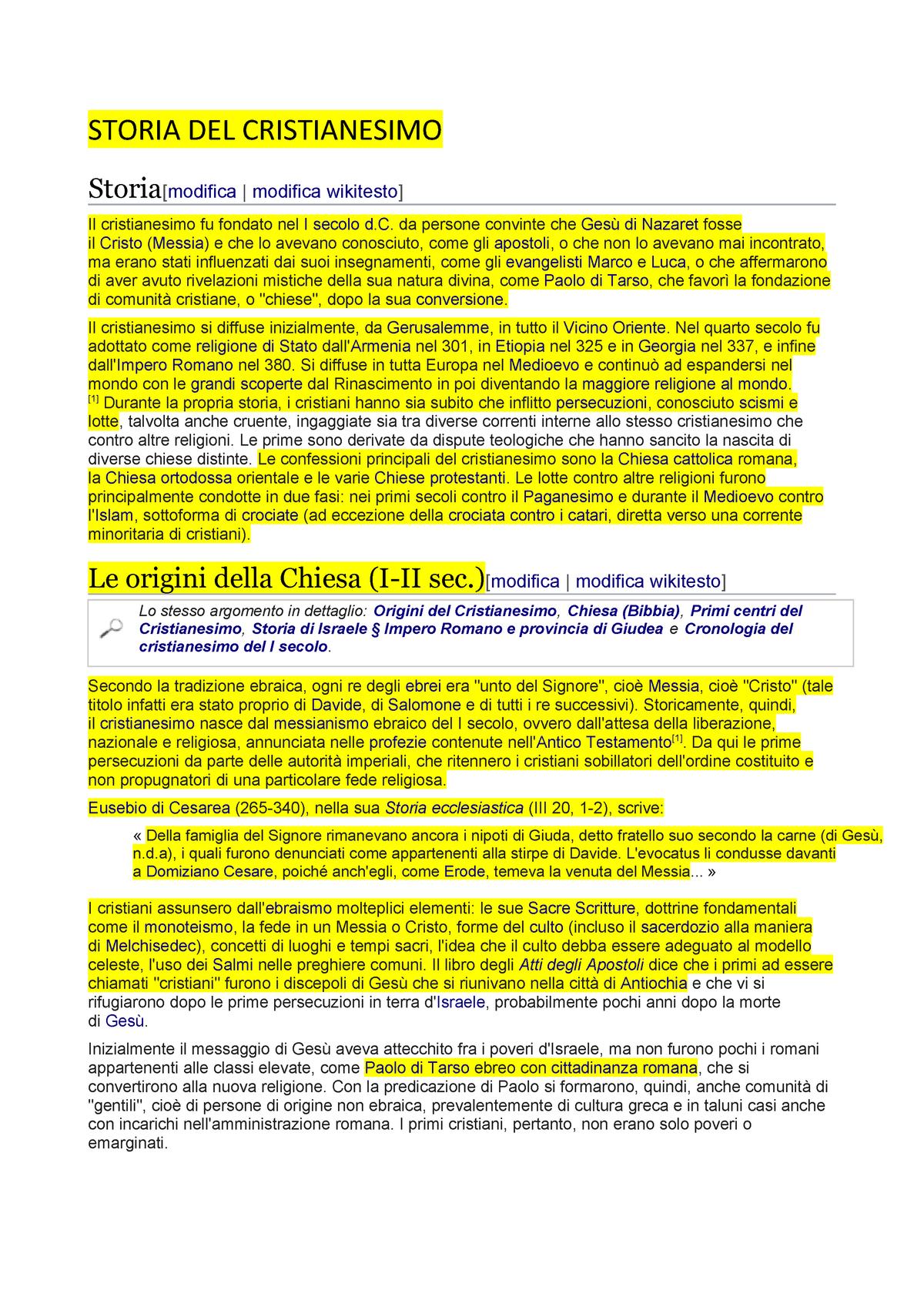 Calendario Persiano Conversione.Storia Del Cristianesimo Acc 823 Accounting Seminar Studocu