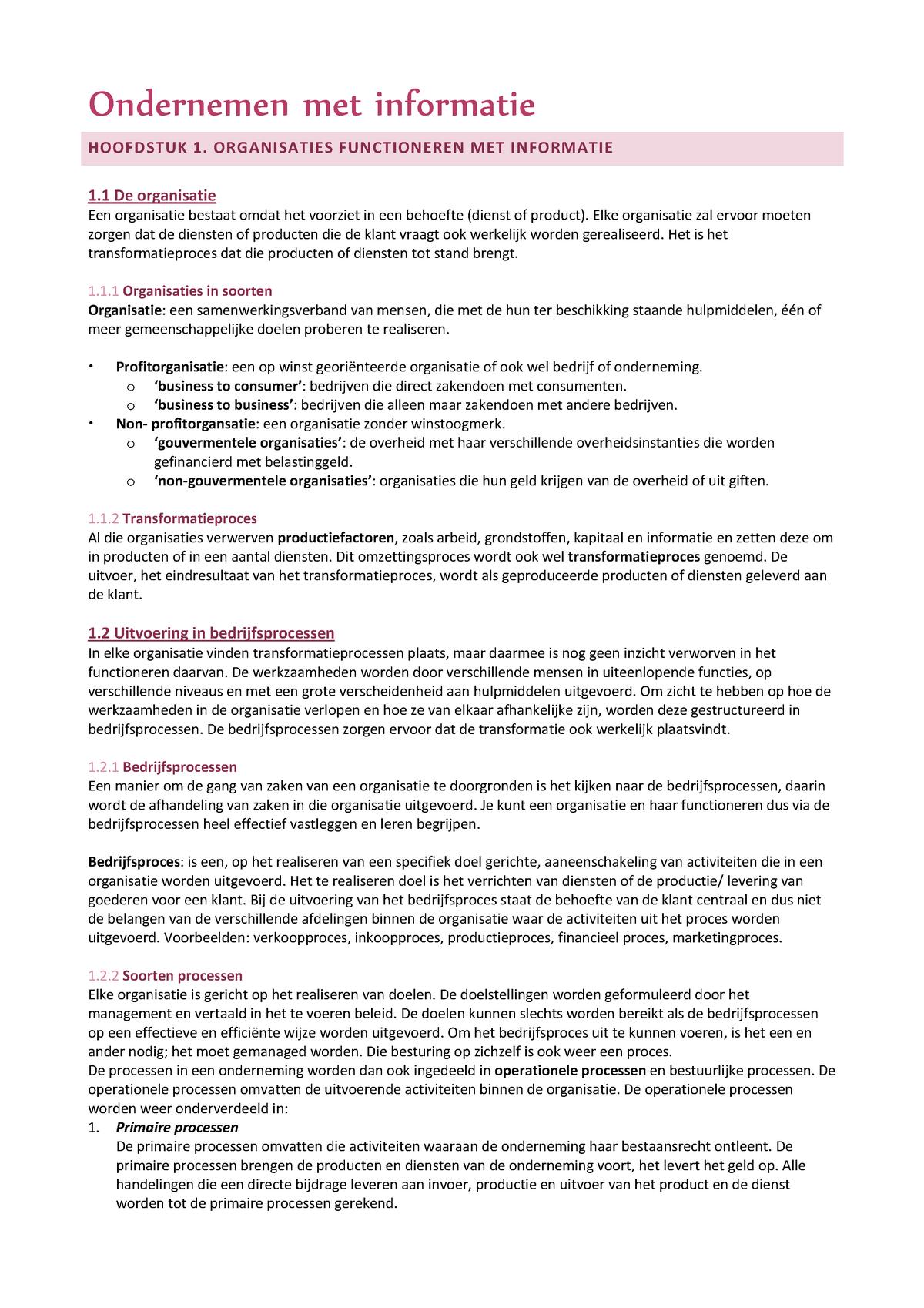 ac8759aaba4 Samenvatting Ondernemen met informatie H1-7 - StudeerSnel.nl