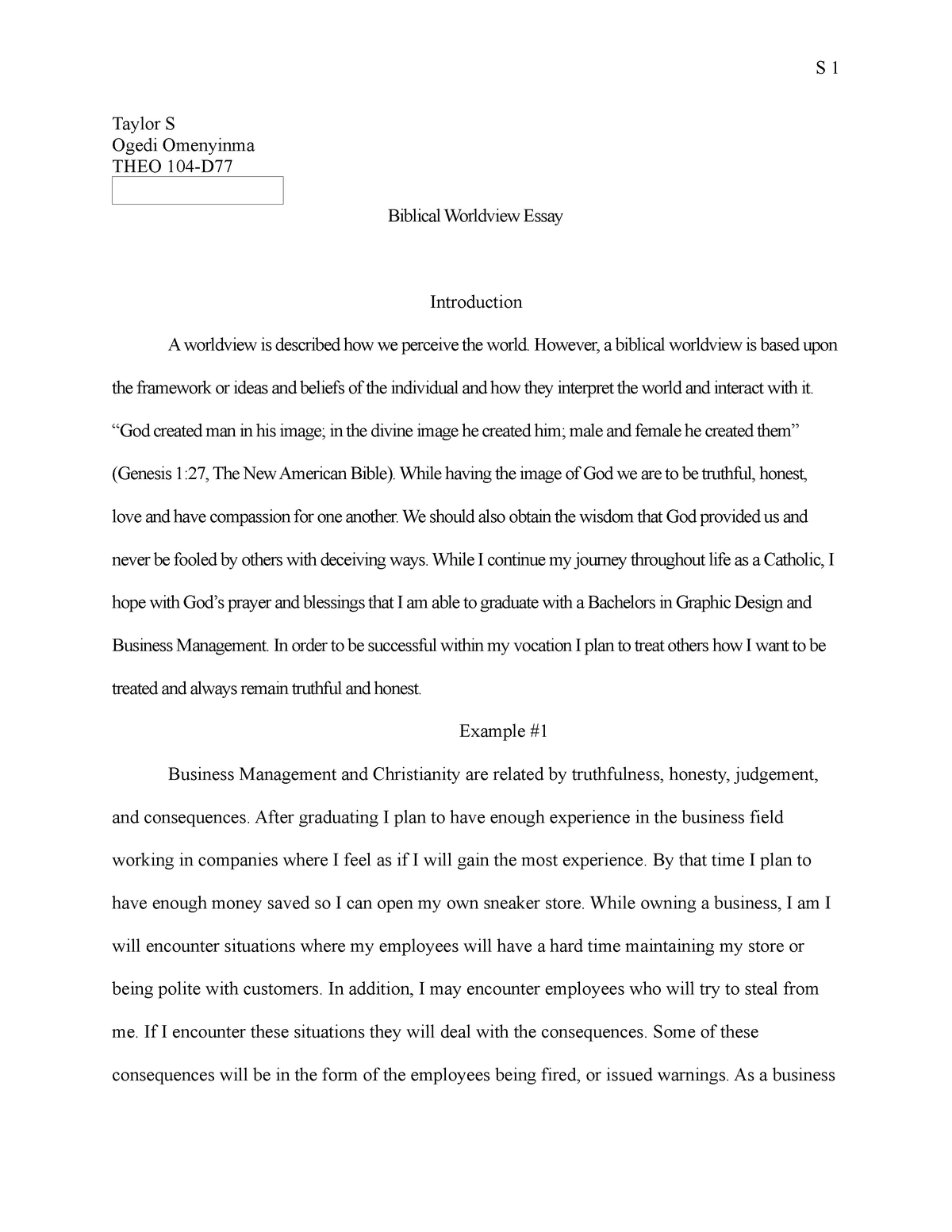 My Personal Worldview Free Essay Example