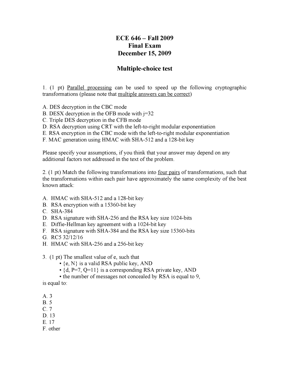 Exam December 15 Fall 2009, questions - ECE 646 - GMU - StuDocu