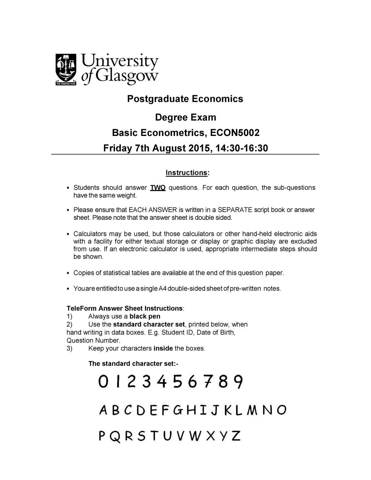 Exam 2015 - ECON5002: Basic Econometrics - StuDocu