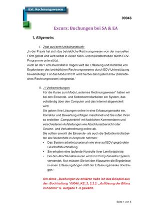 Zusammenfassung Externes Rechnungswesen Komplett Excurs Buchungen