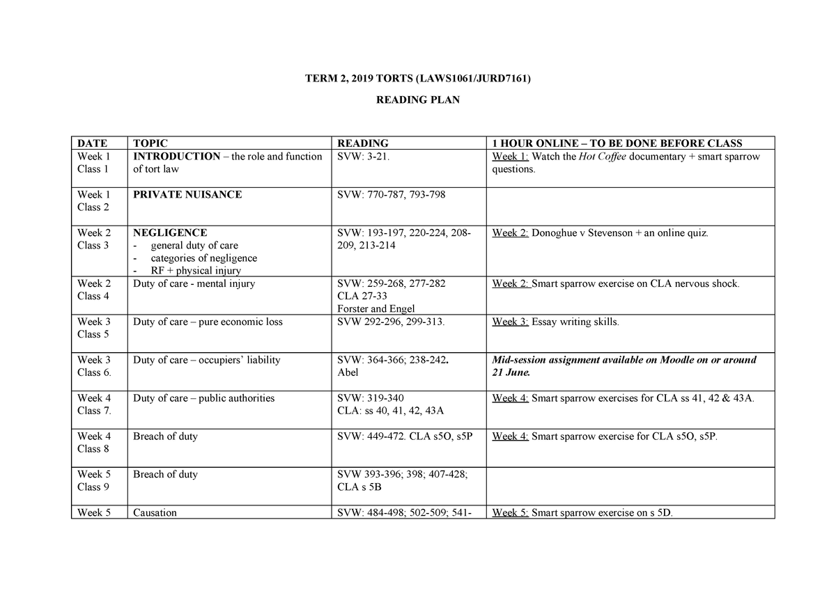 2019 Term 2 Torts Reading Guide and teaching plan Final