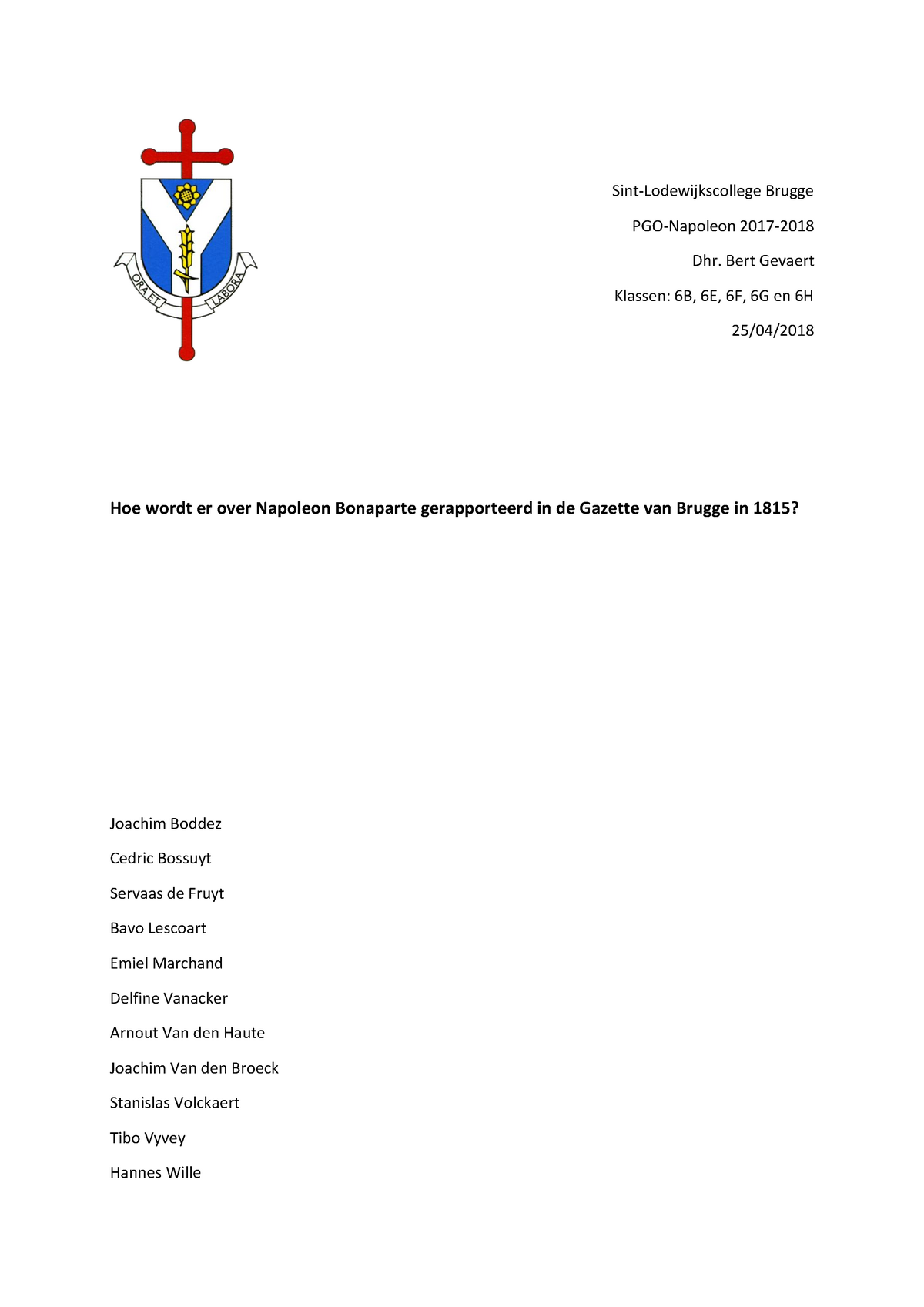 Paper Van Tekststudie Groepswerk Geschiedenis Ugent