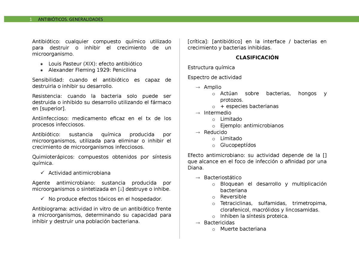Tema 1 Antibióticos Farmacología Bio0329 Unam Studocu
