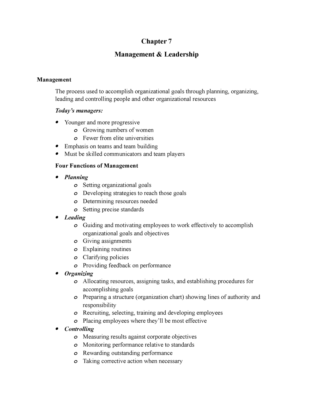 Chapter 7 Management and Leadership - BUSN 102: Foundations