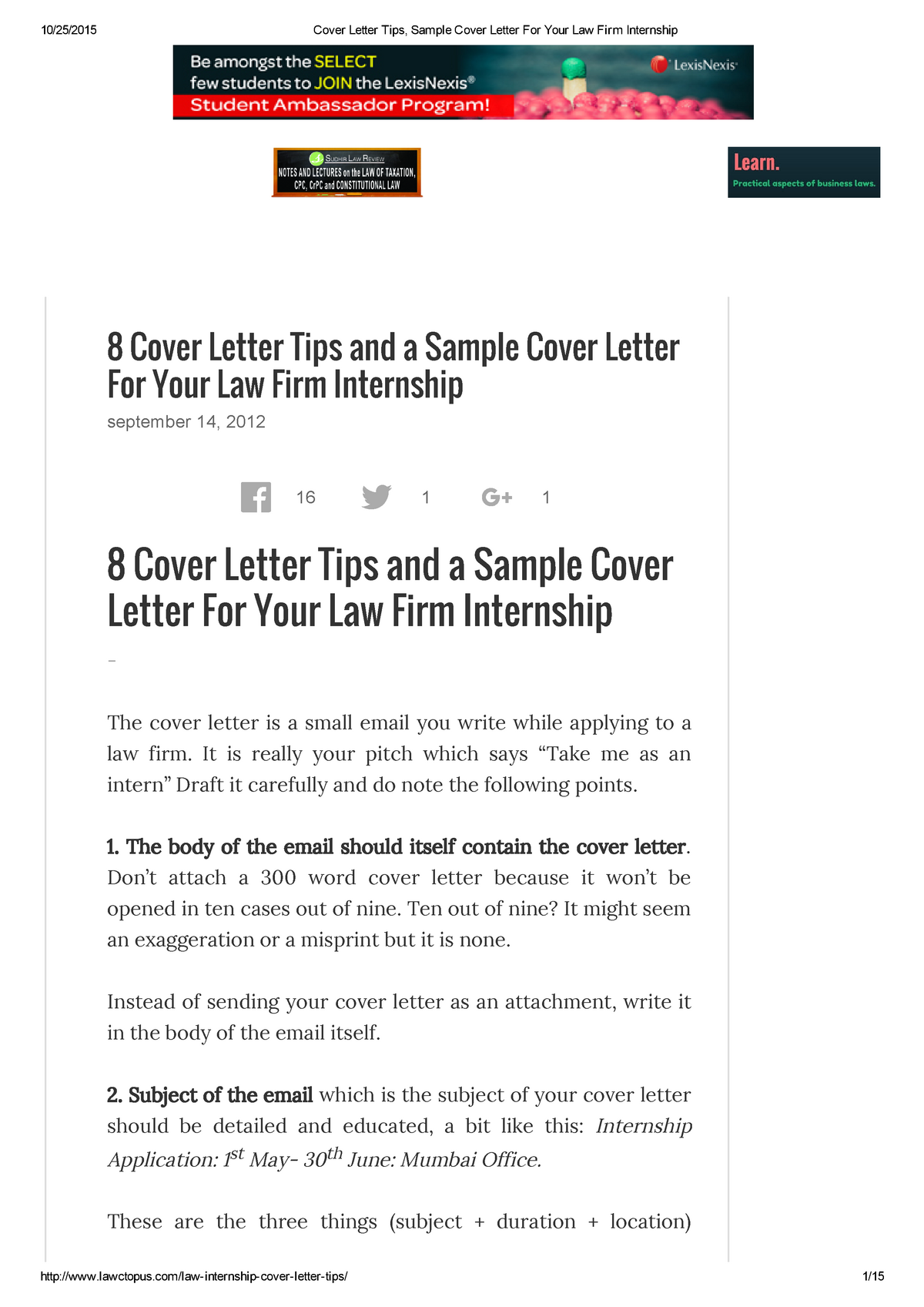 Cover Letter Tips, Sample Cover Letter For Your Law Firm ...