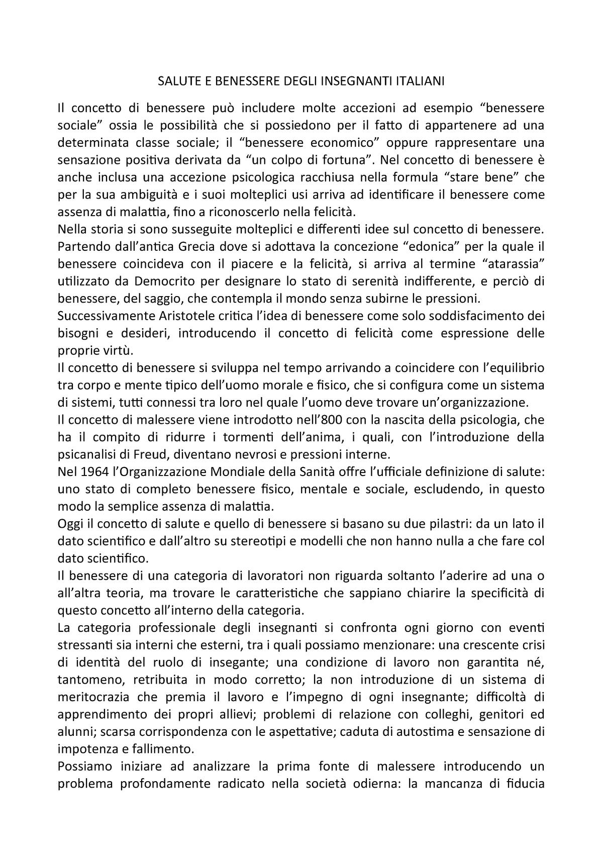 Salute E Benessere Degli Insegnanti Italiani Unimib Studocu