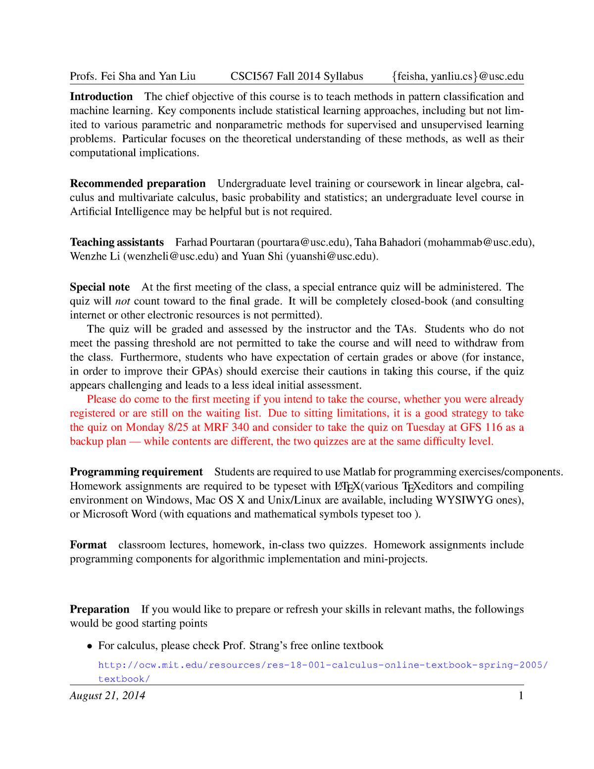 Syllabus - CSCI567: Machine Learning - StuDocu