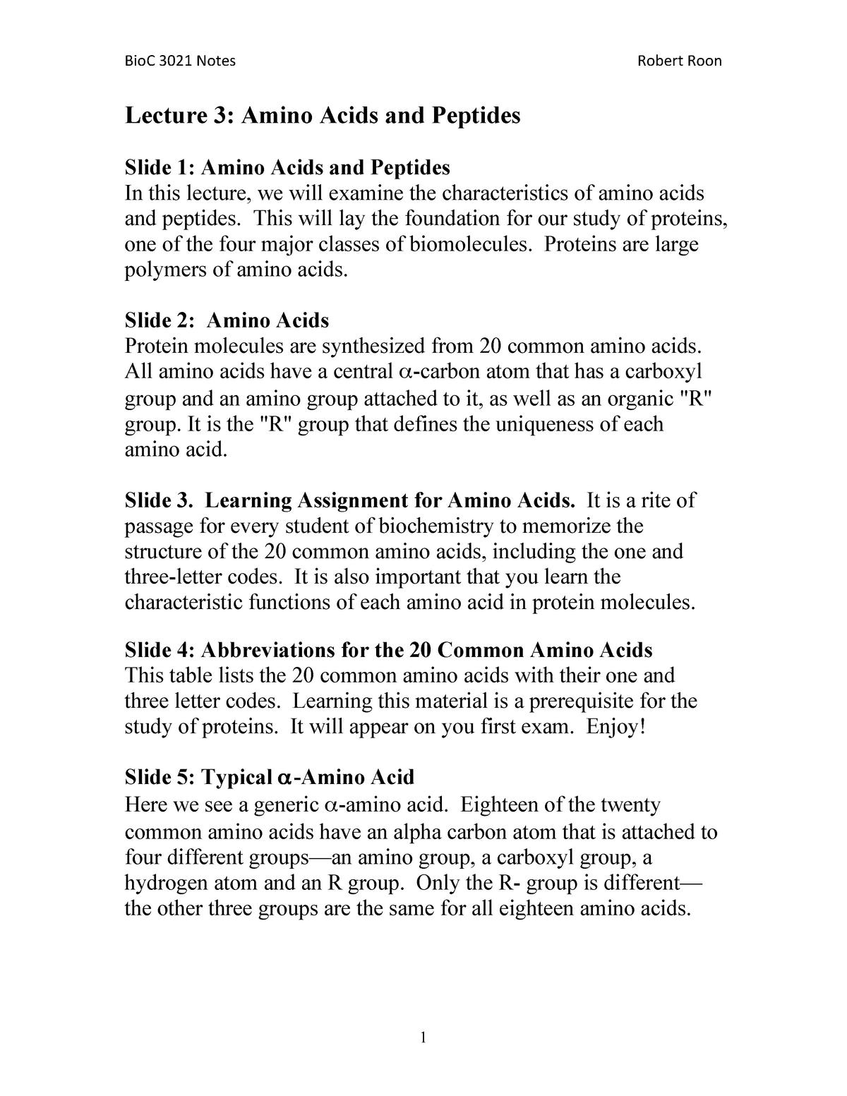 20 Amino Acid One Letter Code.Lecture 03 Amino Acids And Peptides Bioc 3021 Biochemistry