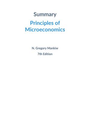 Summary Principles Of Microeconomics N Gregory Mankiw