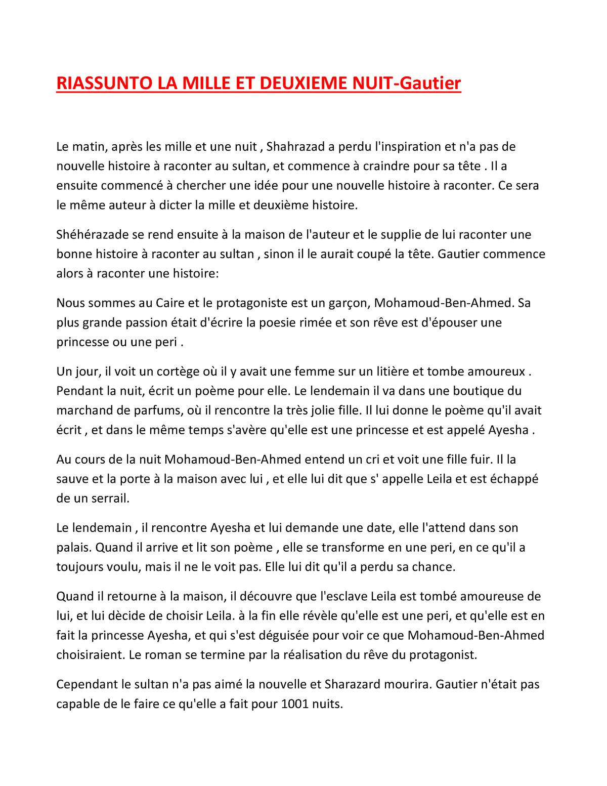 Trama Libro La Mille Et Deuxieme Nuit Studocu