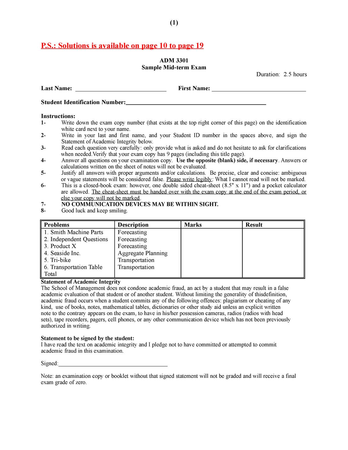 Exam 2016 - ADM3301: Operations Management - StuDocu