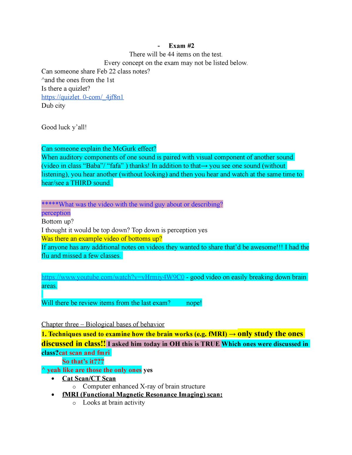Exam 2 Study Guide Psych 101 - PSYC 101 - UNC Chapel Hill