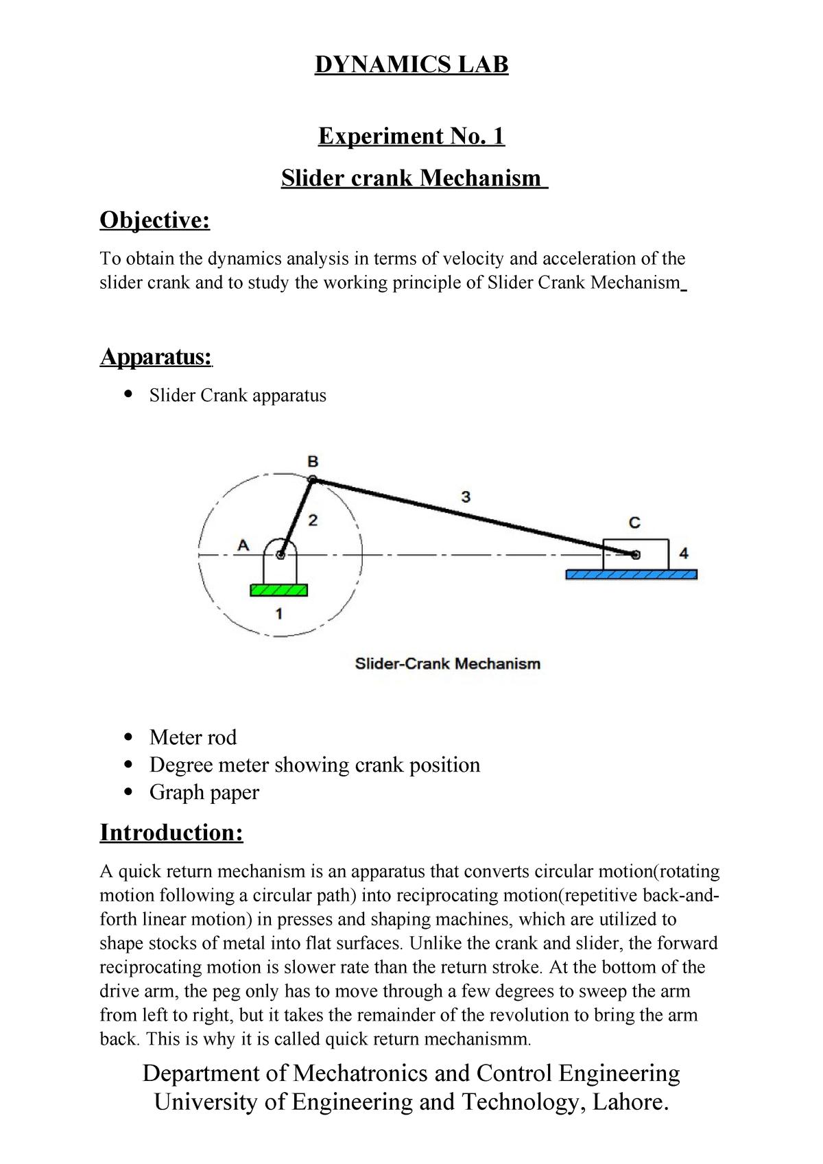 Slider crank - dynamics lab experiments - - UET Lahore - StuDocu