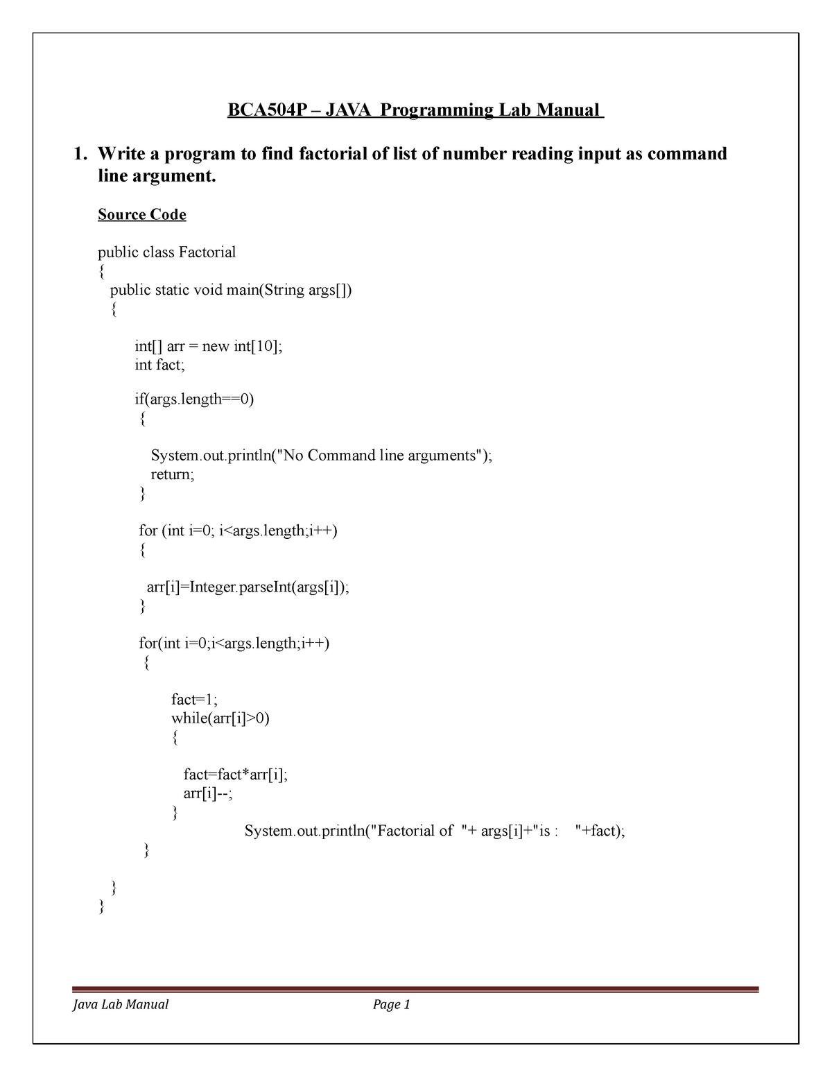 Java Lab-BCA - It has the programs  - BCA504: JAVA Programming - StuDocu