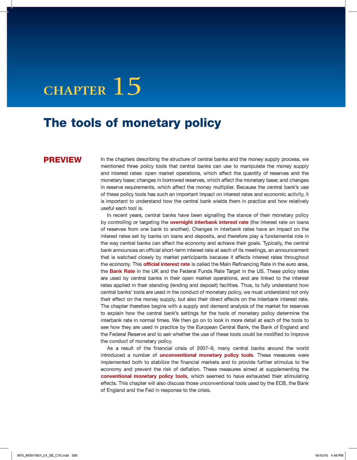 M15 - course notes - 6012B0242Y: Monetary and Fiscal Policy - StuDocu