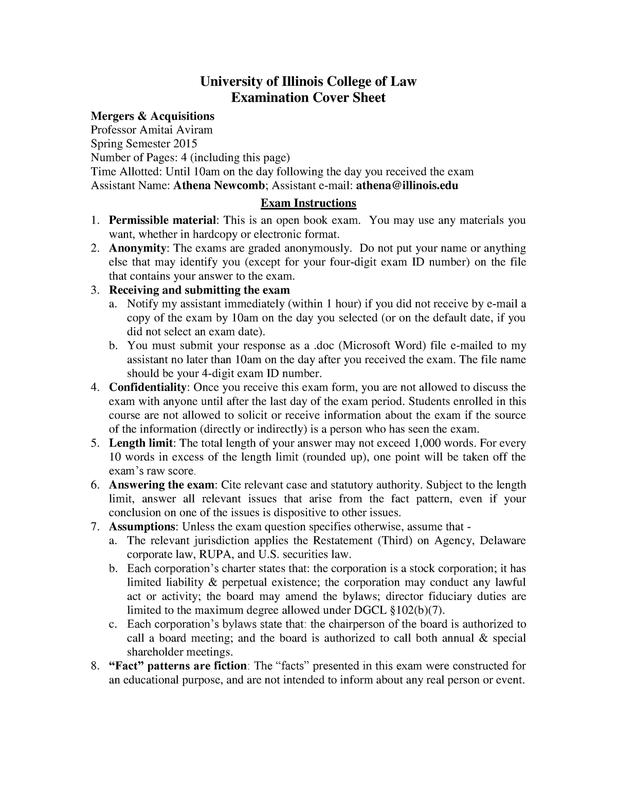 Sample/practice exam Spring 2015, questions - law 794 - ISU