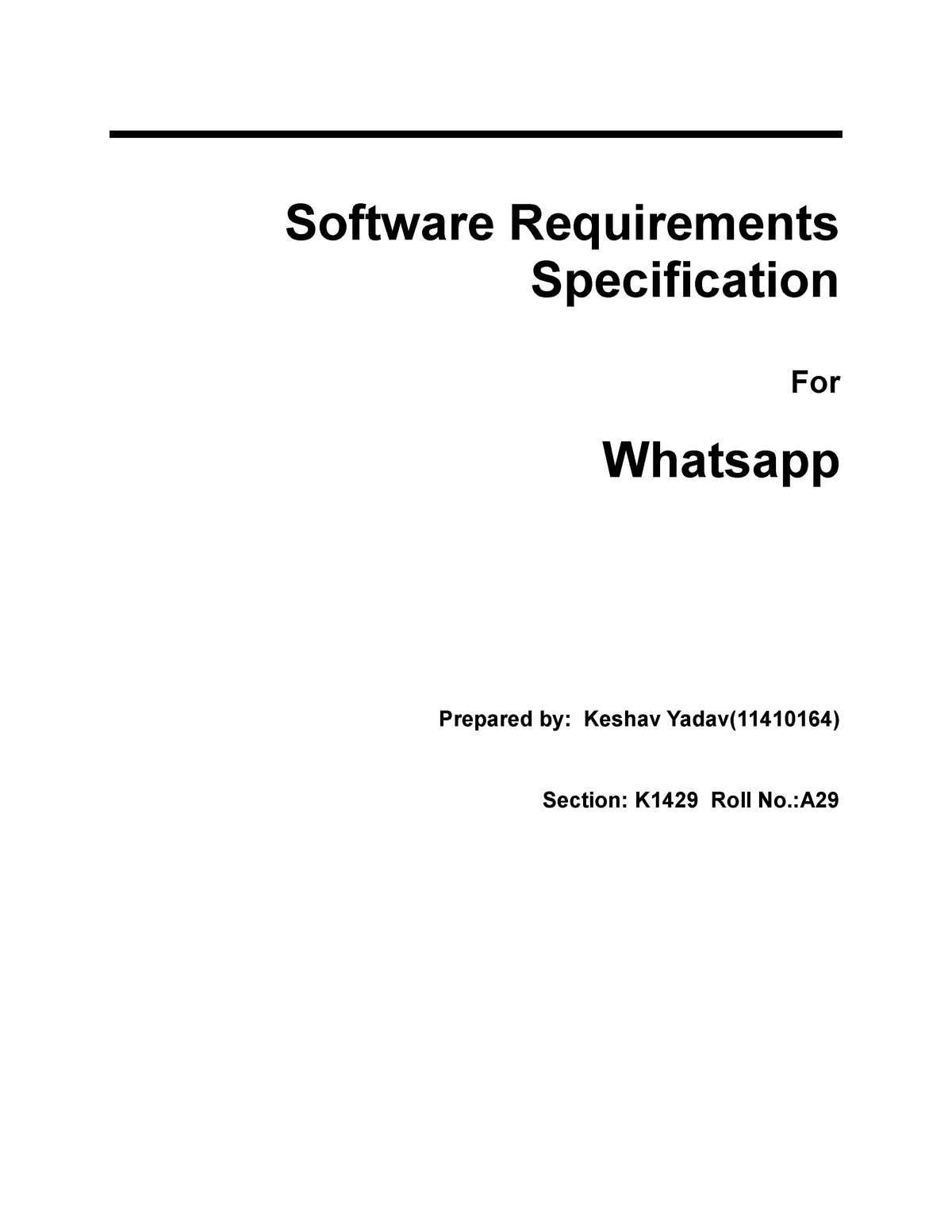 Whatsapp Software Requirement Specification Srs Cse 320 Studocu