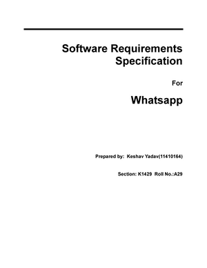 Whatsapp - software requirement specification srs - CSE 320