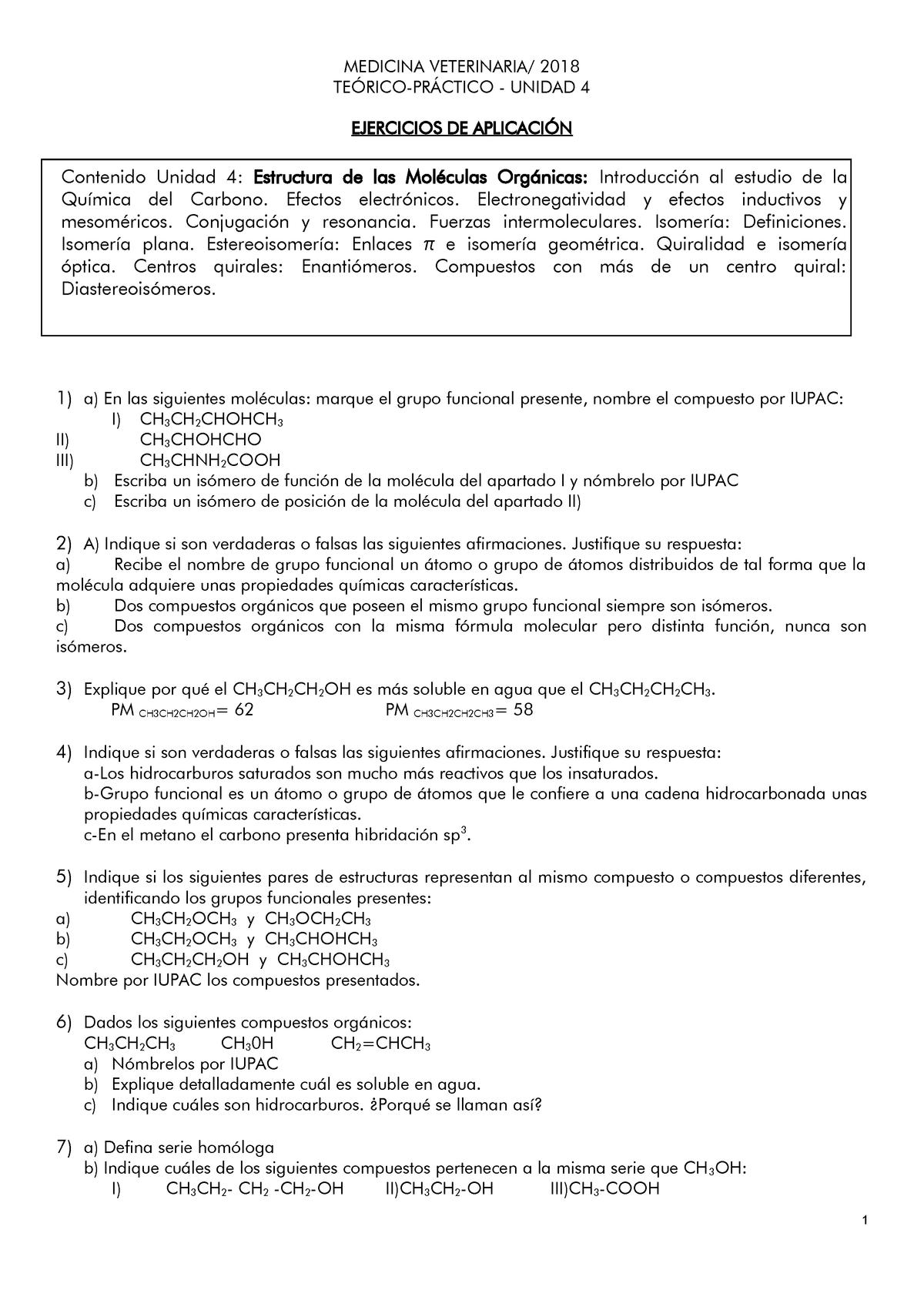 Estructuras De Moléculas Orgánicas Trabajo Practico Studocu
