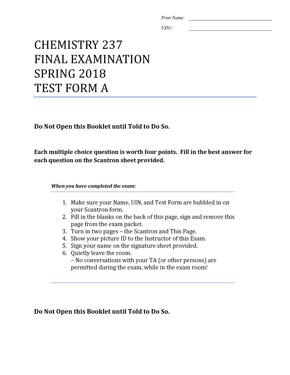 Ochem Final Practice TEST 2 - CHEM 237: (CHEM 2123, 2223