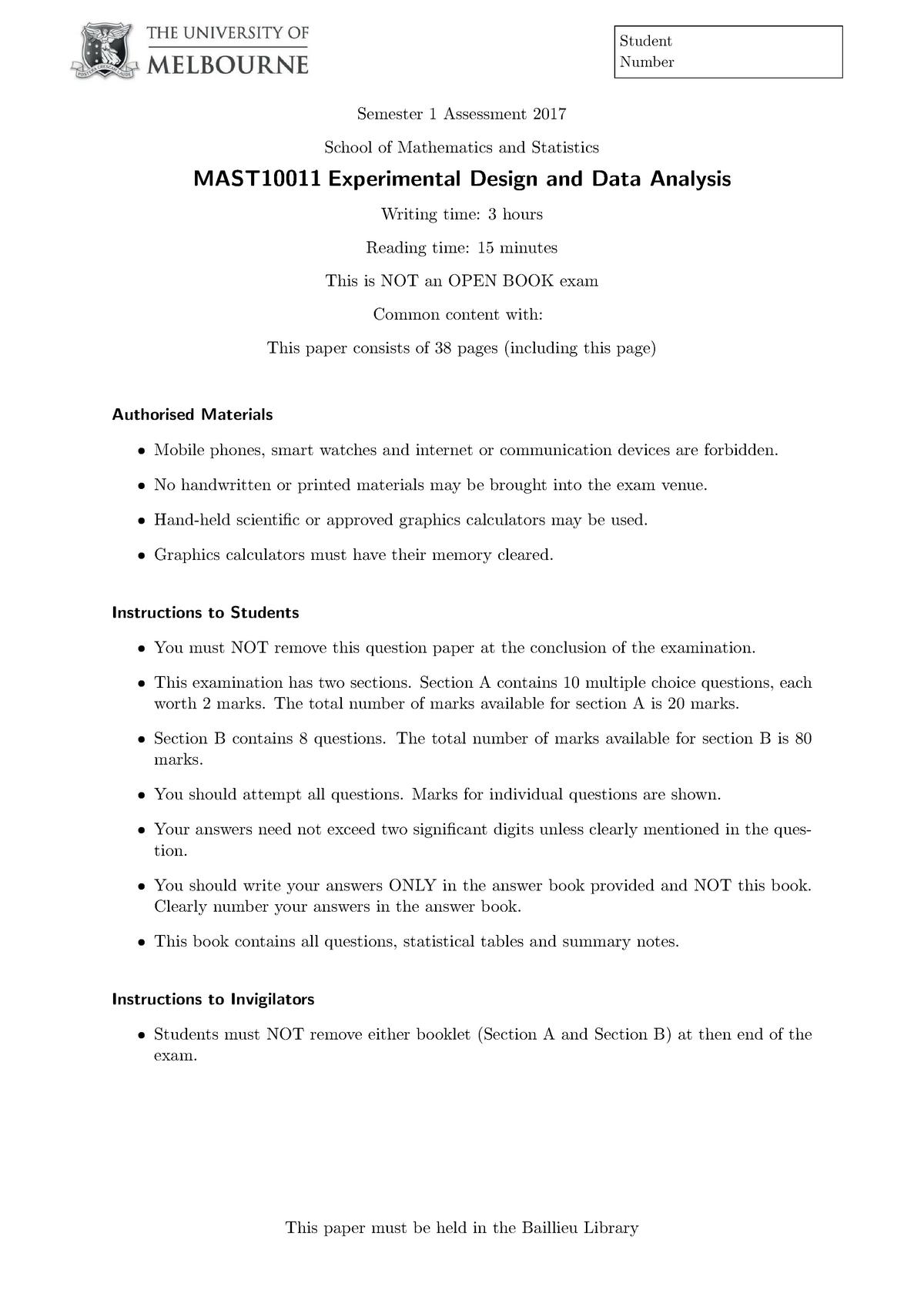 Exam 2017 - MAST10011: Experimental Design And Data Analysis - StuDocu