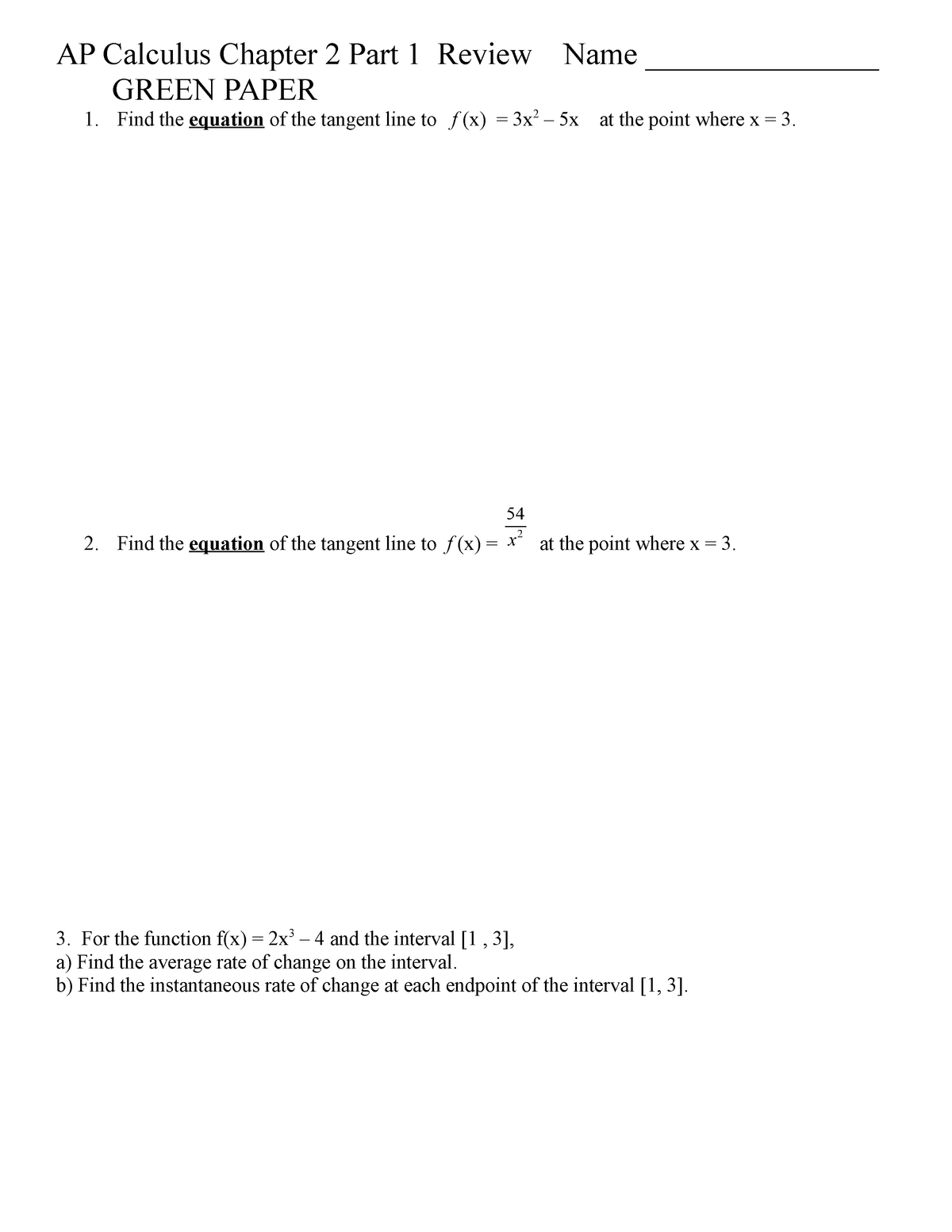 Study Guide 2 1 - 2 4 - Calculus One Variable Practice