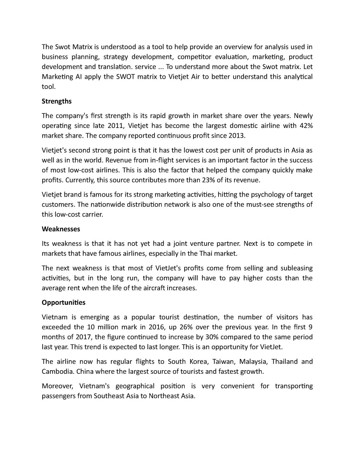 SWOT analysis of Vietjet Air - Marketing Essential ME - StuDocu