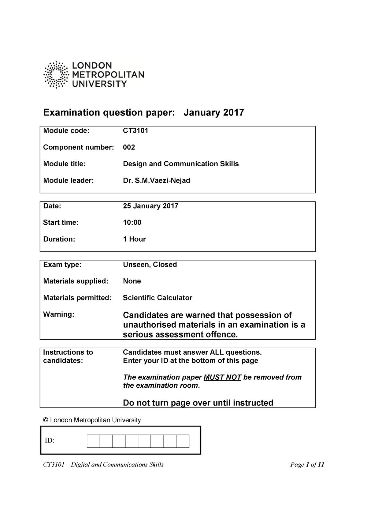 Exam Questions On Communication Skills