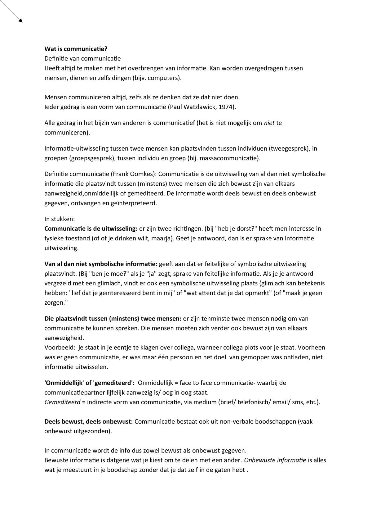16  Wat is communicatie (startpunt mondeling en - StudeerSnel nl