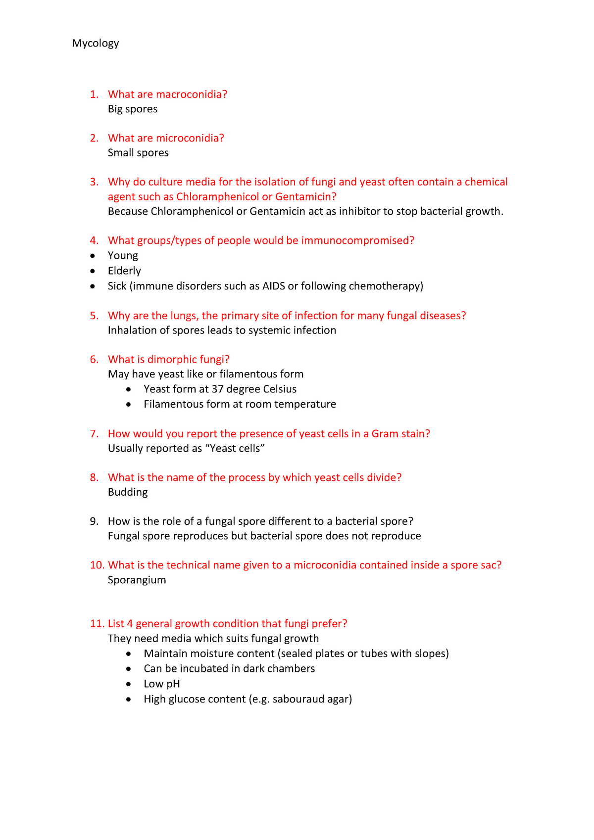 Mycology short questions and answer - MEDI2003 - Curtin