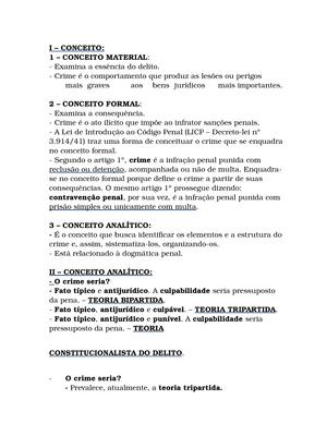 Conceito sobre crime - Direito Penal V 37017 - Unicap - StuDocu