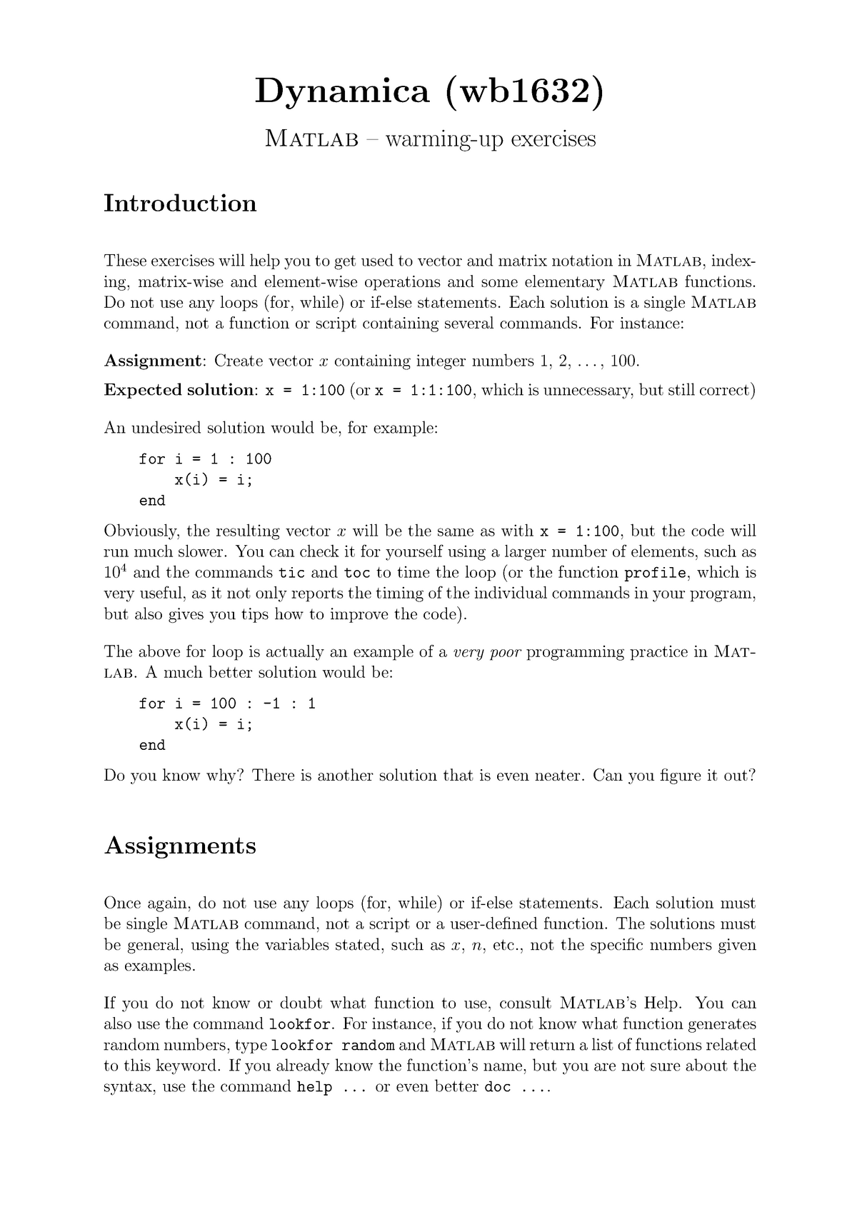 Oefenopgaven, Matlab – warming-up exercises - WB2230-15: Systeem en