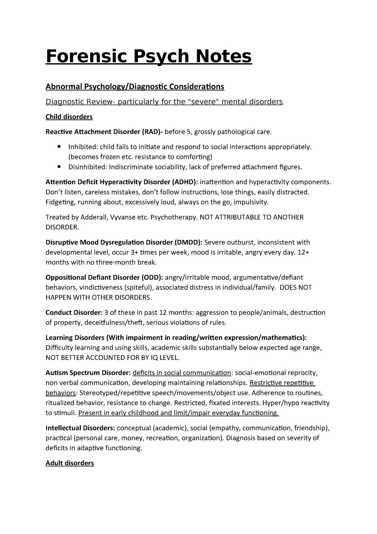 Summary notes for abnormal psych and Treatment - AS 200 202