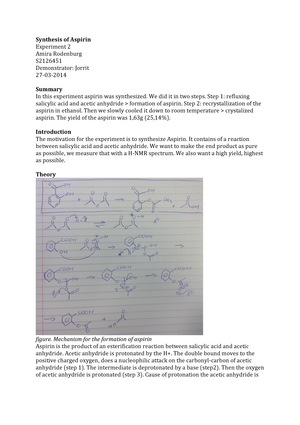 synthesis of aspirin lab answers