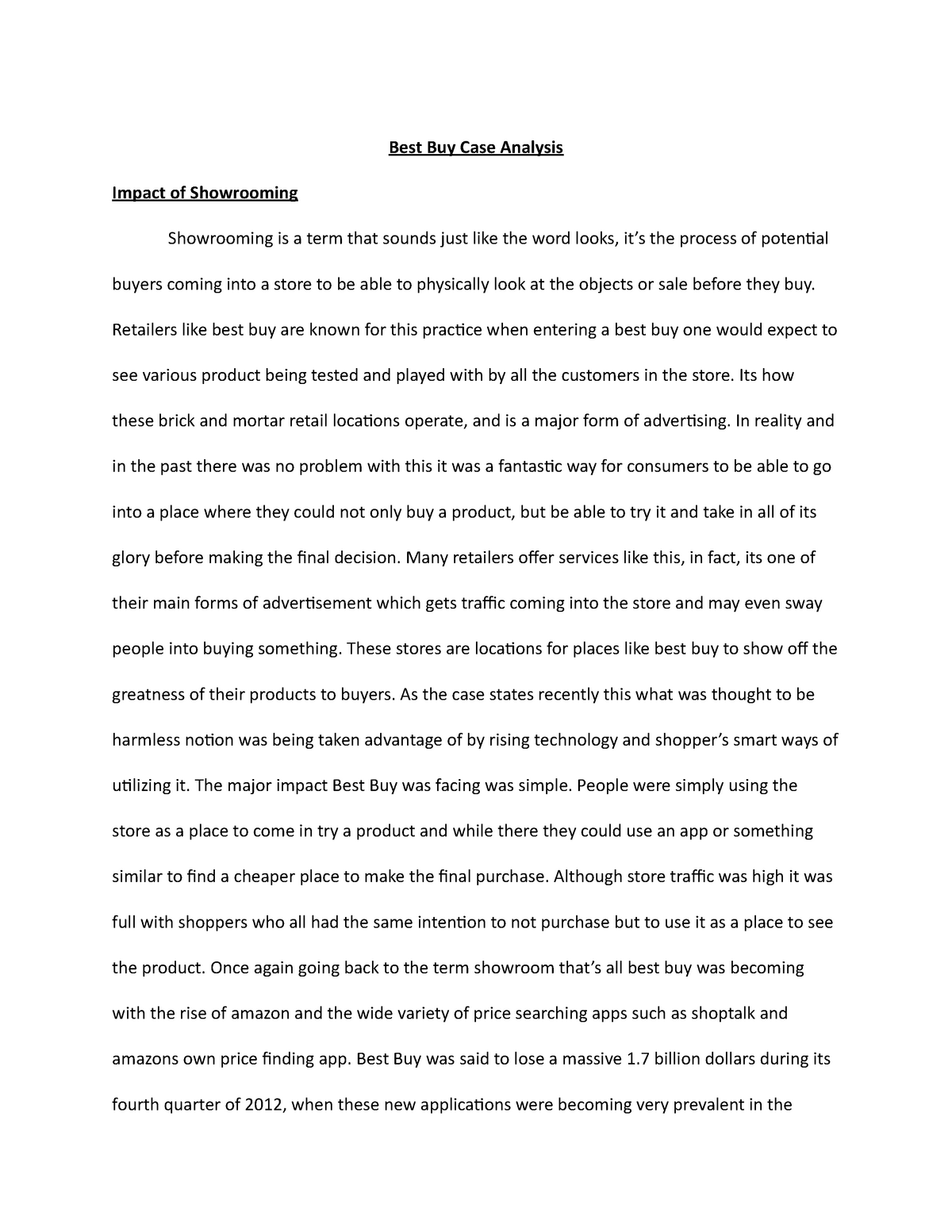 Best Buy Case Study Essays
