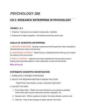 Psych 289 - Lecture notes 4 - Psyc 289 - AU - StuDocu