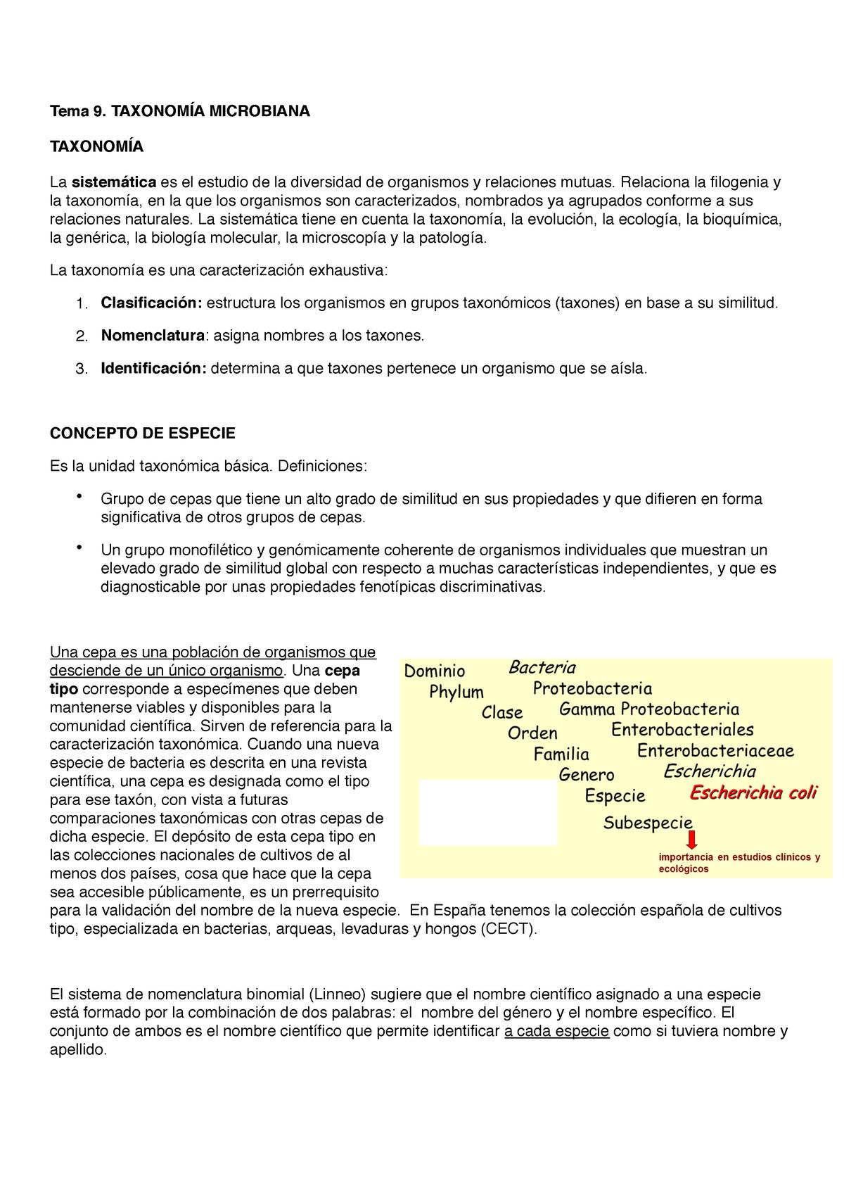 9 Taxonomía Microbiana Microbiologia 17914101 Urv Studocu