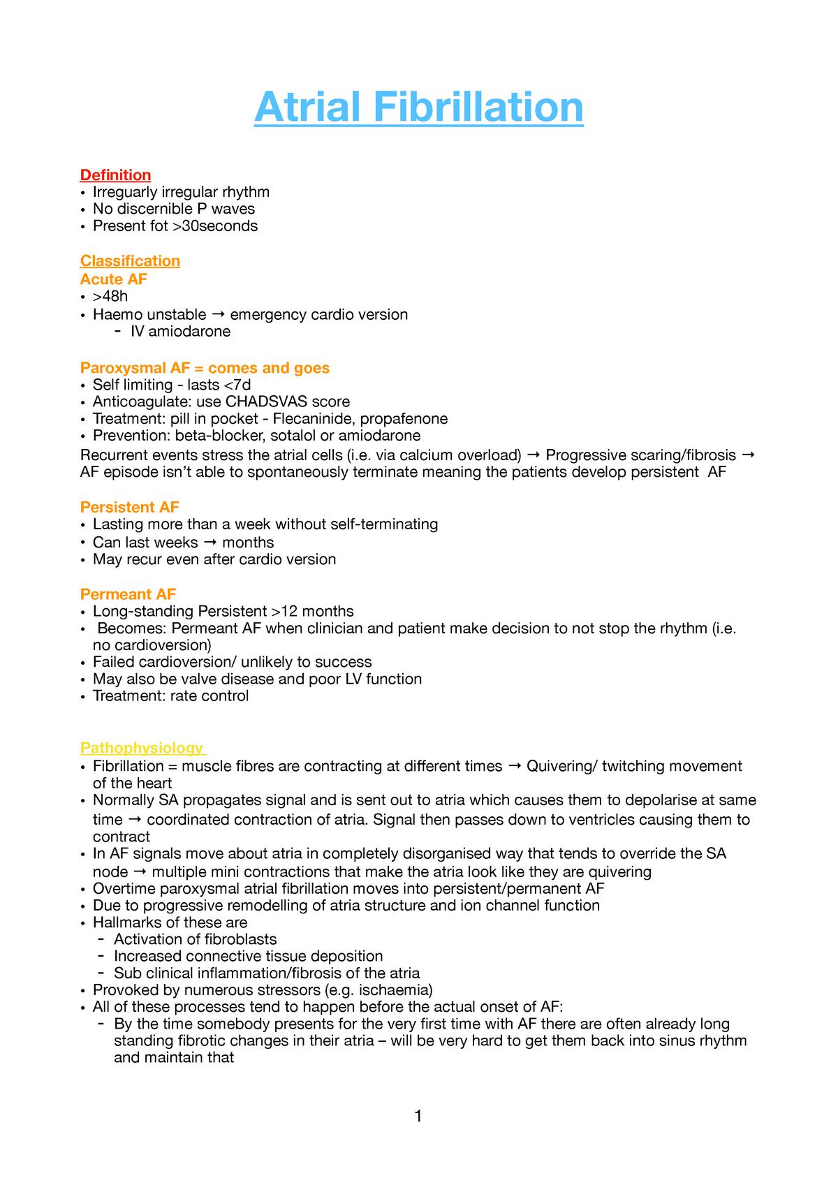Atrial Fibrillation - MBCHB 3rd Year MED3004 - Gla - StuDocu