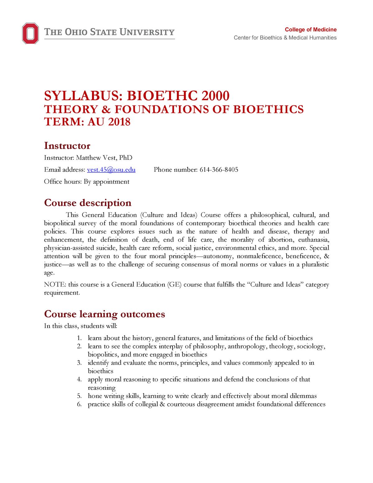Bioethc 2000 ONL AU18 - ISB 208L Is Biology Lab - MSU - StuDocu