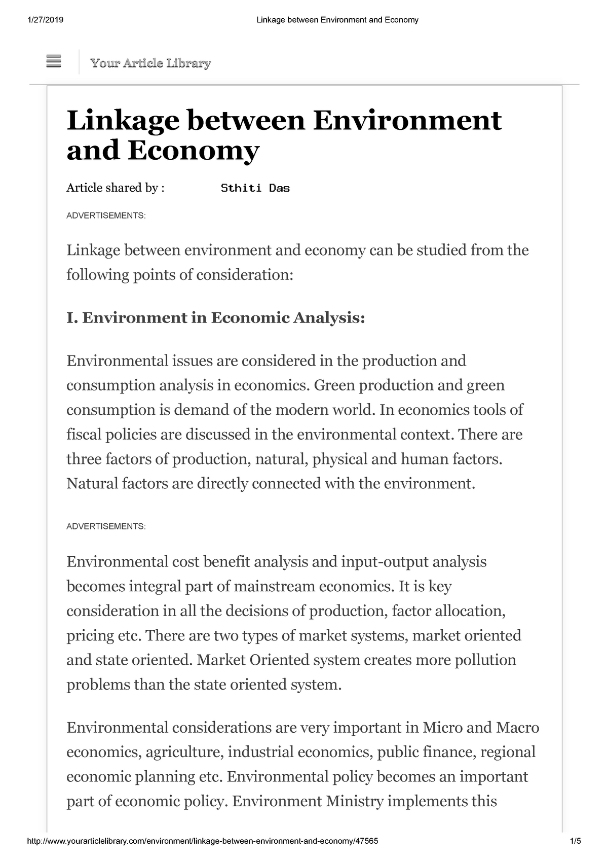 Regional Environmental Policy: The Economic Issues