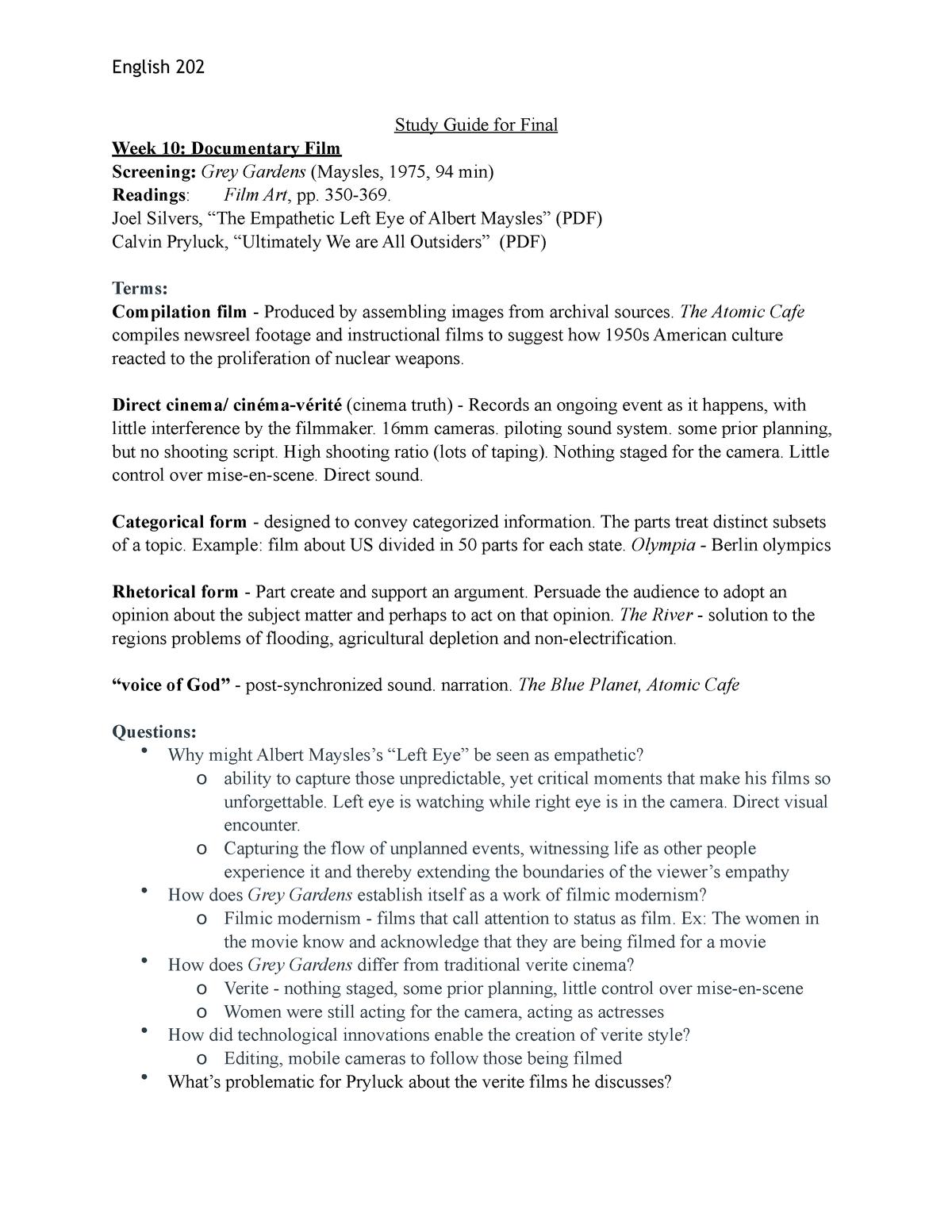 Exam 2016 Eng 202 Film Analysis And Interpretation Studocu