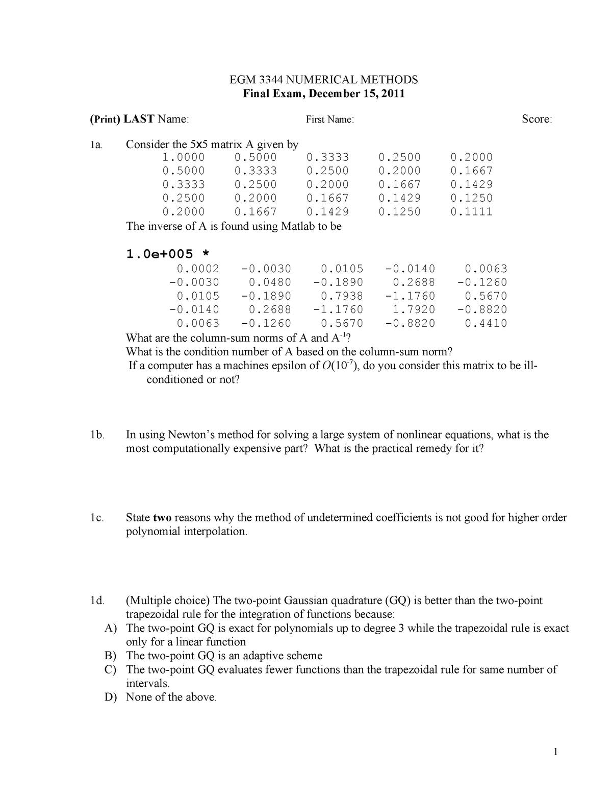 Exam 2011 - EGM 3344: Intro Num Meth Engr - StuDocu